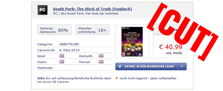 South Park: The Stick of Truth / Der Stab der Wahrheit zensiert